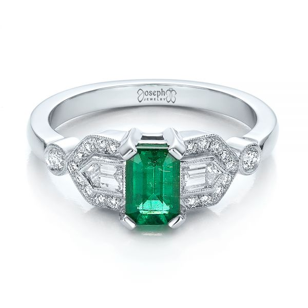 14k White Gold Custom Emerald And Diamond Engagement Ring - Flat View -