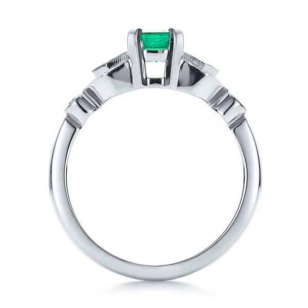 14k White Gold Custom Emerald And Diamond Engagement Ring - Front View -