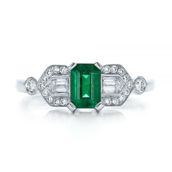 14k White Gold Custom Emerald And Diamond Engagement Ring - Top View -