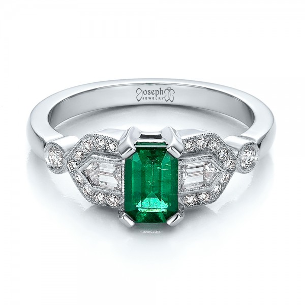 Custom Emerald and Diamond Engagement Ring