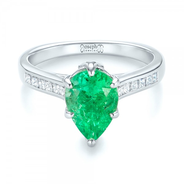 18k White Gold Custom Emerald And Diamond Engagement Ring - Flat View -