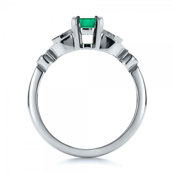 Custom Emerald and Diamond Engagement Ring - Finger Through View