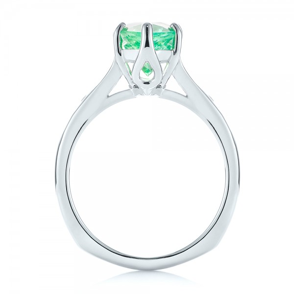 18k White Gold Custom Emerald And Diamond Engagement Ring - Front View -