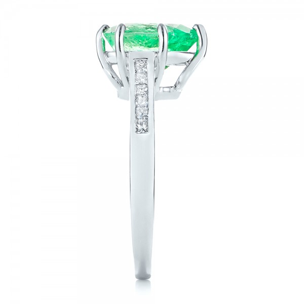 18k White Gold Custom Emerald And Diamond Engagement Ring - Side View -