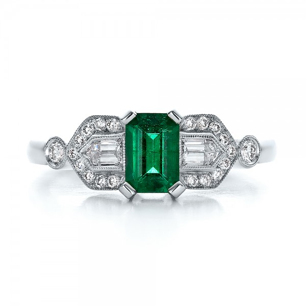 Custom Emerald and Diamond Engagement Ring - Top View