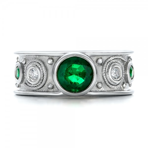 custom emerald and engagement ring 102099