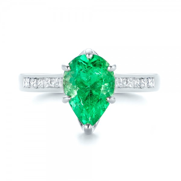 18k White Gold Custom Emerald And Diamond Engagement Ring - Top View -