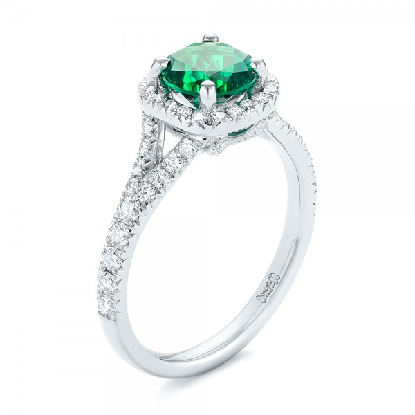 Custom Emerald and Diamond Halo Engagement Ring - 3/4 View
