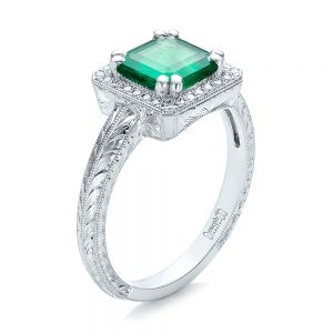 Custom Emerald and Diamond Halo Engagement Ring - Image