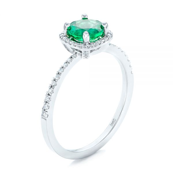 14k White Gold Custom Emerald And Diamond Halo Engagement Ring - Three-Quarter View -