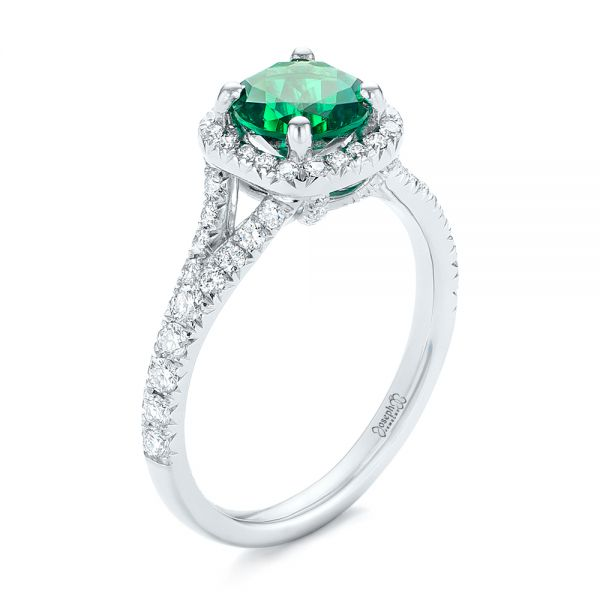 Custom Emerald and Diamond Halo Engagement Ring