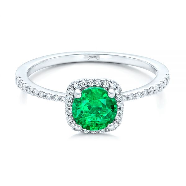 14k White Gold Custom Emerald And Diamond Halo Engagement Ring - Flat View -