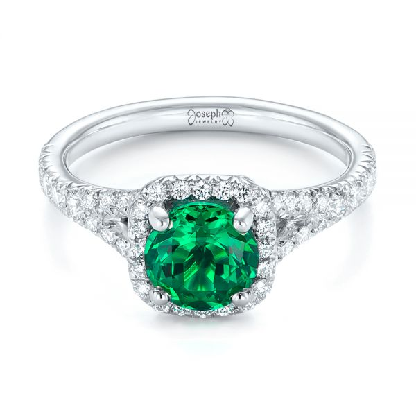 Platinum Custom Emerald And Diamond Halo Engagement Ring - Flat View -