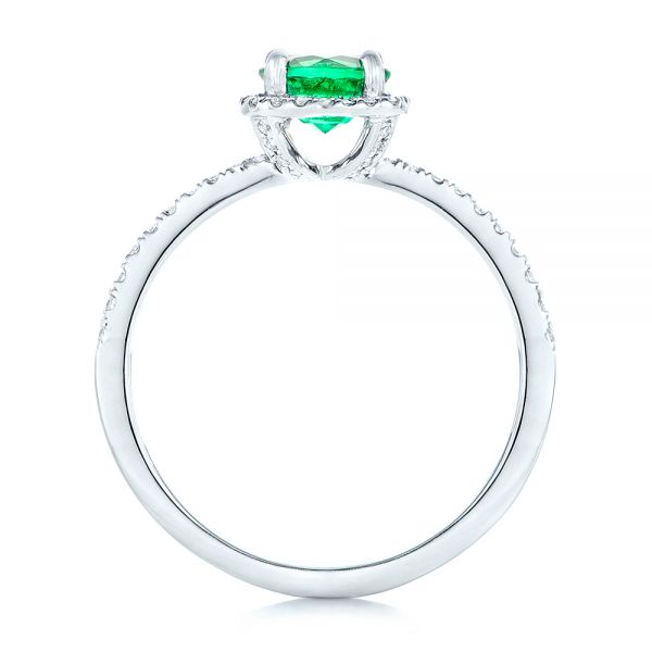 14k White Gold Custom Emerald And Diamond Halo Engagement Ring - Front View -