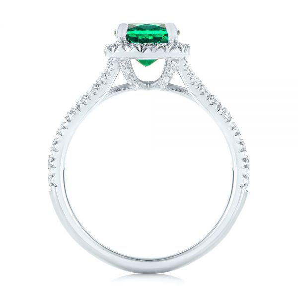 Platinum Custom Emerald And Diamond Halo Engagement Ring - Front View -
