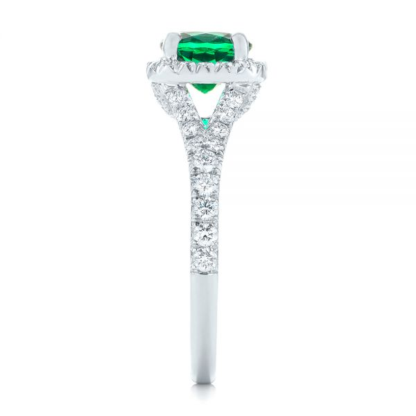 Platinum Custom Emerald And Diamond Halo Engagement Ring - Side View -