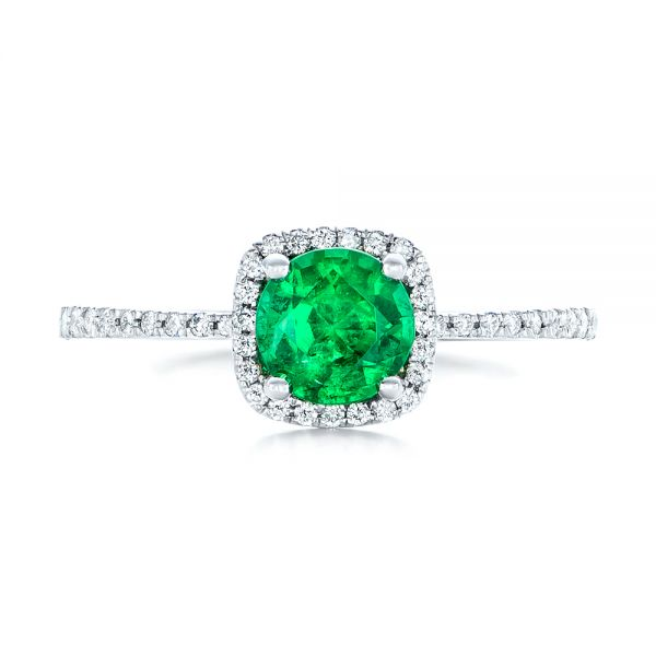 14k White Gold Custom Emerald And Diamond Halo Engagement Ring - Top View -