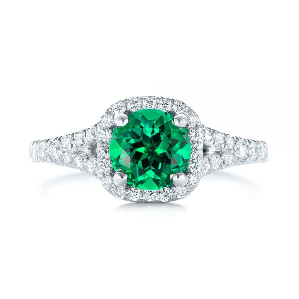 Platinum Custom Emerald And Diamond Halo Engagement Ring - Top View -