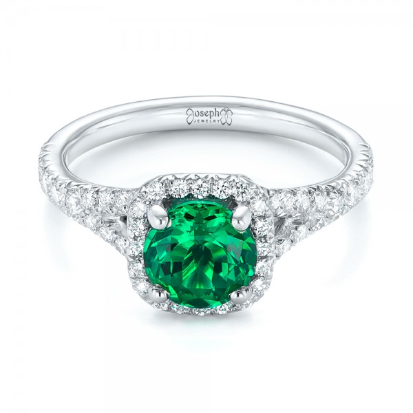 Custom Emerald and Diamond Halo Engagement Ring - Laying View