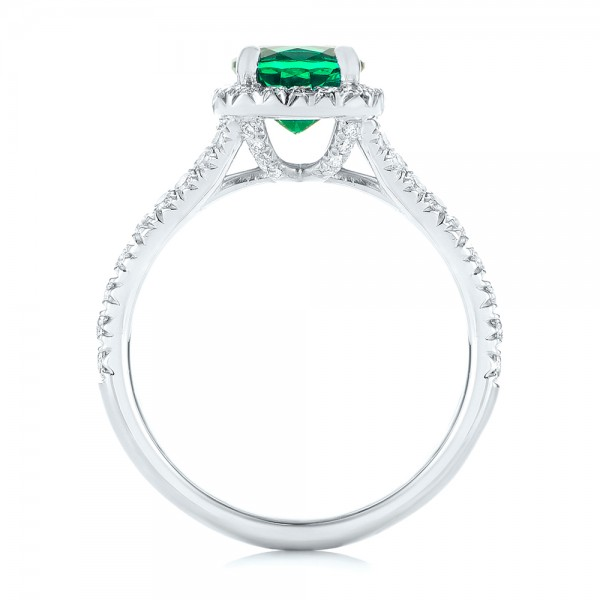 Custom Emerald and Diamond Halo Engagement Ring - Finger Through View