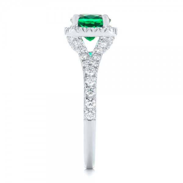 Custom Emerald and Diamond Halo Engagement Ring - Side View