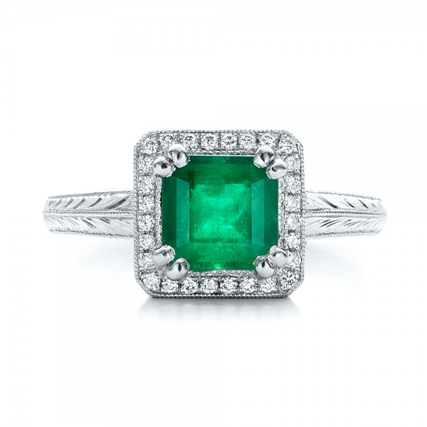 custom emerald and halo engagement ring 101276