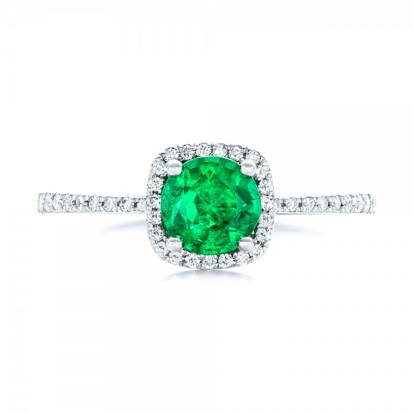 Custom Emerald and Diamond Halo Engagement Ring - Top View
