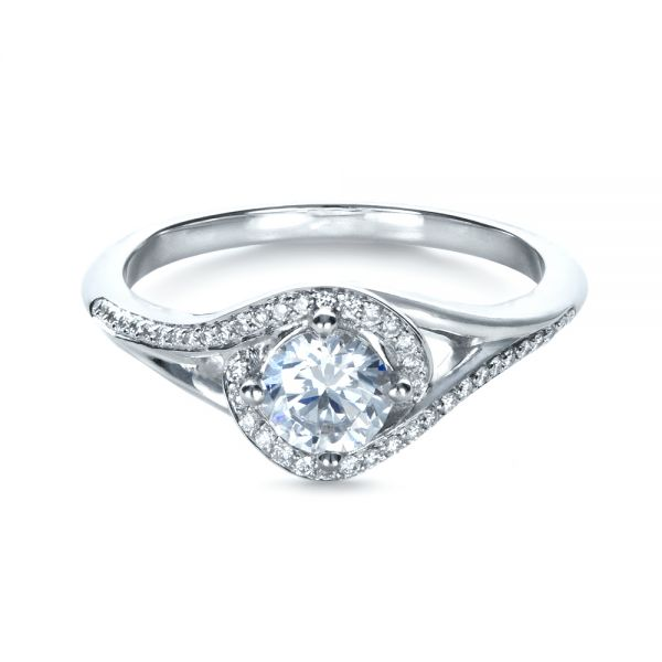 18k White Gold Custom Engagement Ring With Wrapped Halo - Flat View -