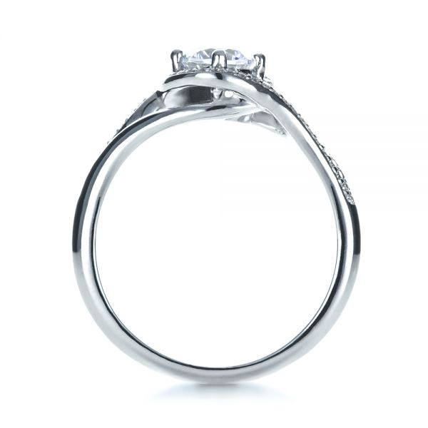 18k White Gold Custom Engagement Ring With Wrapped Halo - Front View -