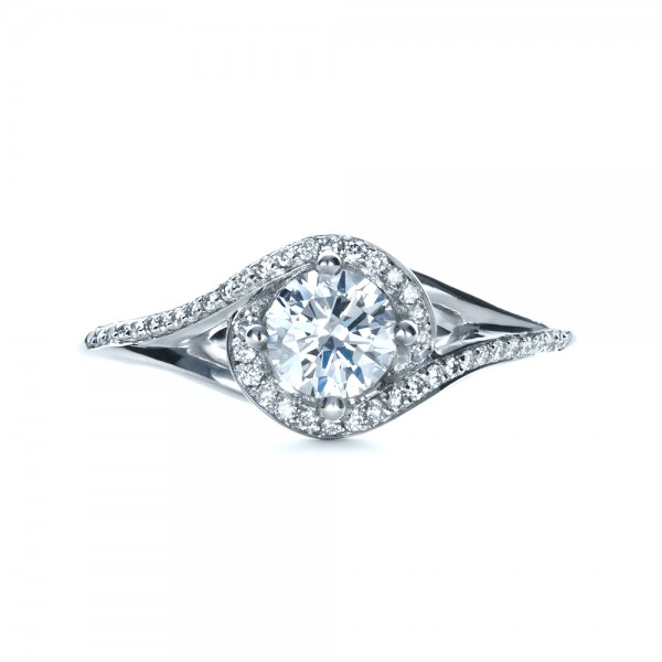 Custom Engagement Ring with Wrapped Halo - Finger Through View