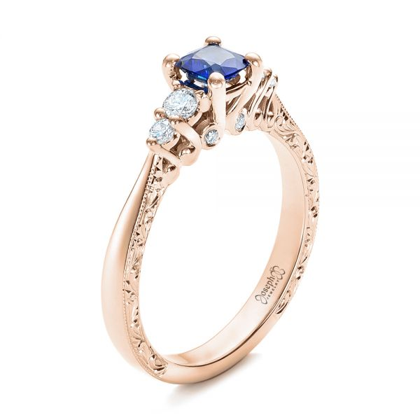 Custom Engraved Blue Sapphire and Diamond Engagement Ring - Image