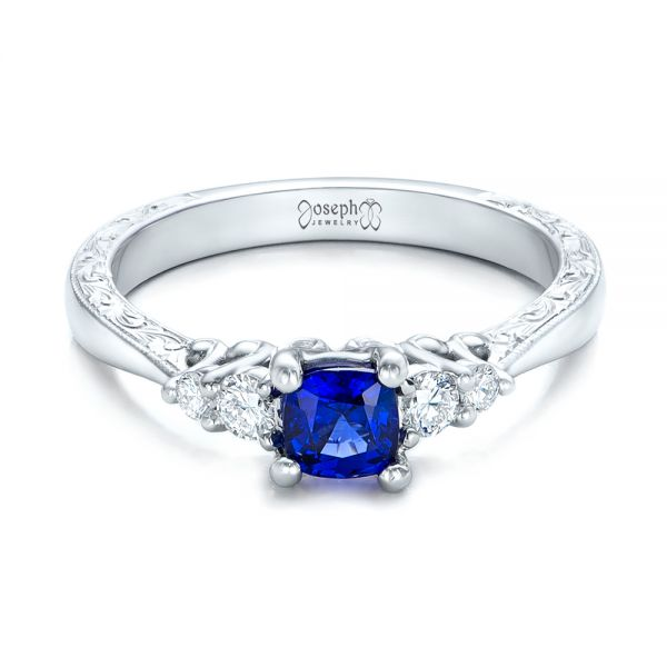14k White Gold Custom Engraved Blue Sapphire And Diamond Engagement Ring - Flat View -