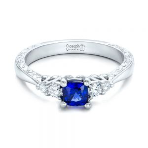 Custom Engraved Blue Sapphire and Diamond Engagement Ring