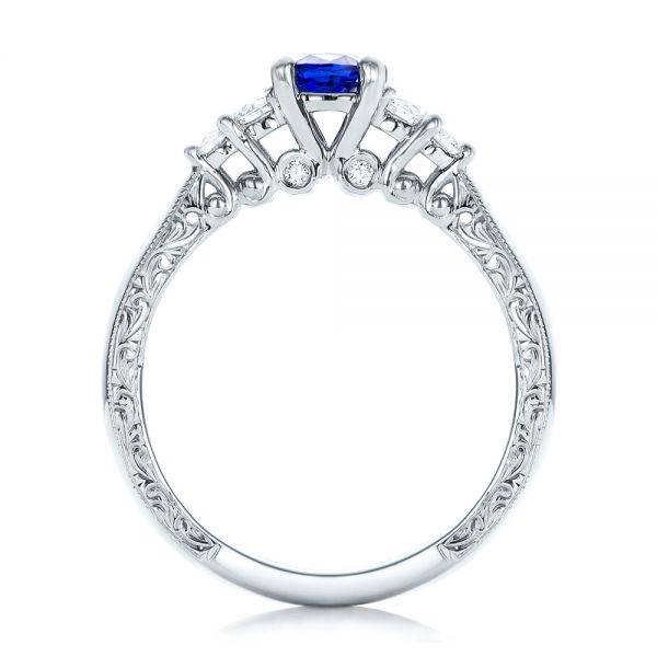 14k White Gold Custom Engraved Blue Sapphire And Diamond Engagement Ring - Front View -