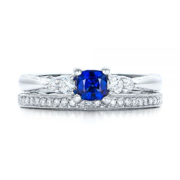 14k White Gold Custom Engraved Blue Sapphire And Diamond Engagement Ring - Top View -