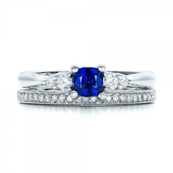 Custom Engraved Blue Sapphire and Diamond Engagement Ring 101957