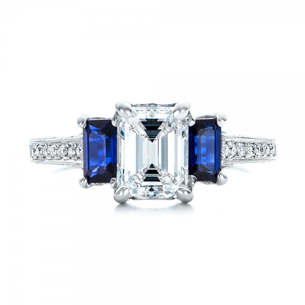 Custom Engraved Blue Sapphire and Diamond Engagement Ring - Top View