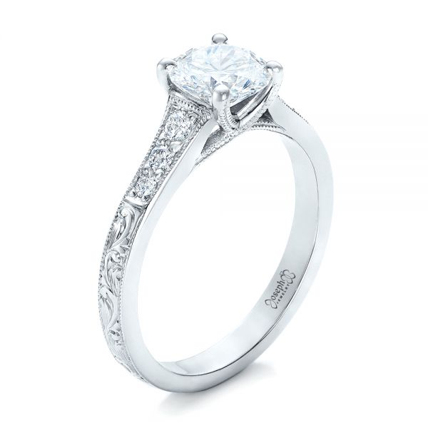Custom Engraved Diamond Engagement Ring - Image