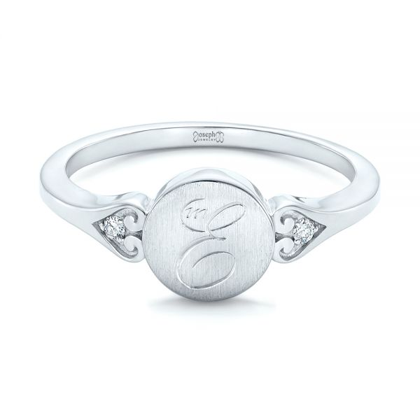 Platinum Platinum Custom Engraved Diamond Engagement Ring - Flat View -