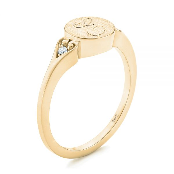 18k Yellow Gold 18k Yellow Gold Custom Engraved Diamond Engagement Ring - Three-Quarter View -