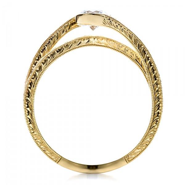 Custom Engraved Diamond Engagement Ring - Finger Through View
