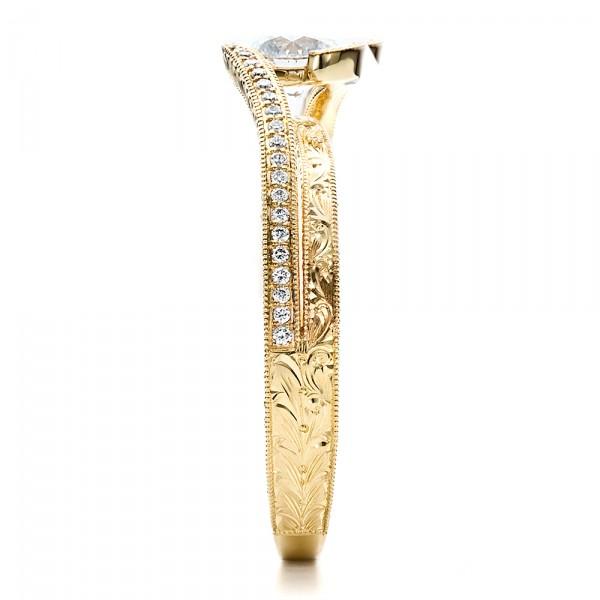 Custom Engraved Diamond Engagement Ring - Side View