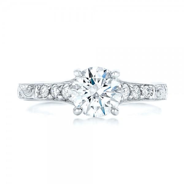 Custom Engraved Diamond Engagement Ring - Top View