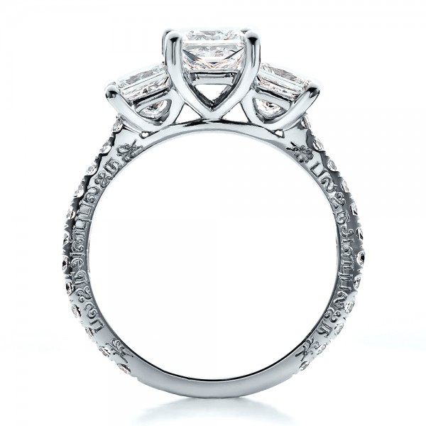 Custom Engraved Engagement Ring - Front View -  1441 - Thumbnail
