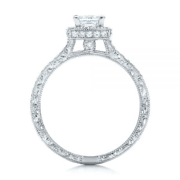 14k White Gold Custom Engraved Princess Cut And Halo Diamond Engagement Ring - Front View -