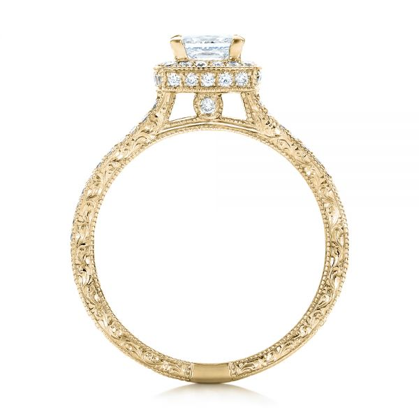 18k Yellow Gold 18k Yellow Gold Custom Engraved Princess Cut And Halo Diamond Engagement Ring - Front View -