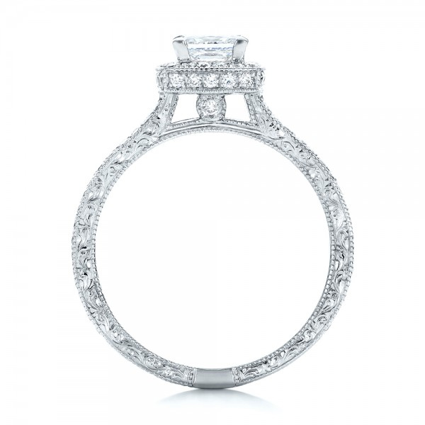 Custom Engraved Princess Cut and Halo Diamond Engagement Ring - Finger Through View