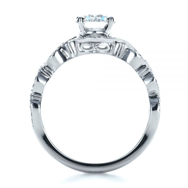 18k White Gold Custom Filigree Diamond Engagement Ring - Front View -