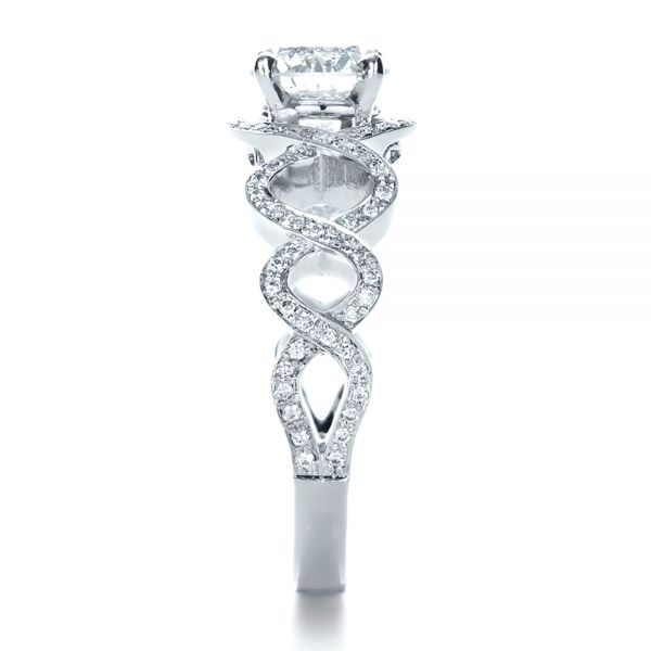 18k White Gold Custom Filigree Diamond Engagement Ring - Side View -