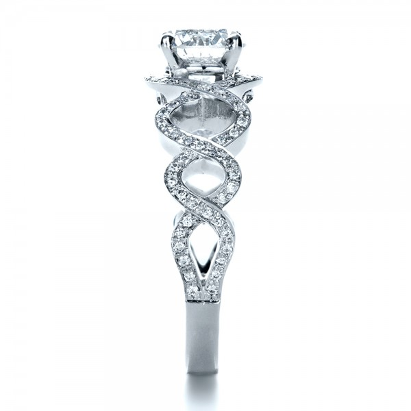 Custom Filigree Diamond Engagement Ring - Side View
